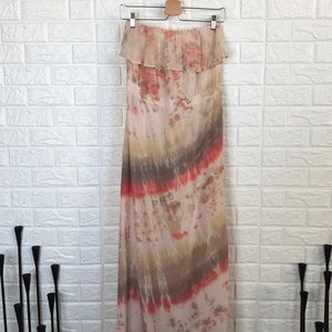 Gypsy 05 tie dye Silk sleeveless tube maxi dress